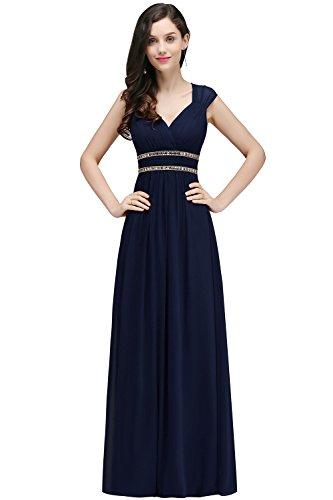 Damen Elegant A-Linie V-Ausschnitt Chiffon Abiballkleid Cocktailkleid maxilang Navy Blau 34
