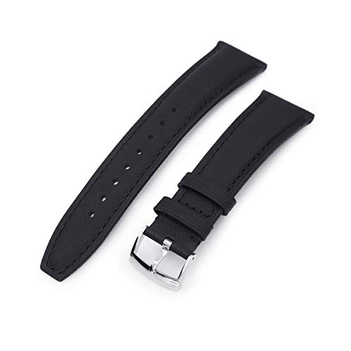 Land-schwarzes Finish (MiLTAT 20mm matt Schwarz Kevlar Finish Leder Uhrenarmband, Schwarze Nähte, Gebürstete Schliesse - 20B18BBU63K1A81(DE))