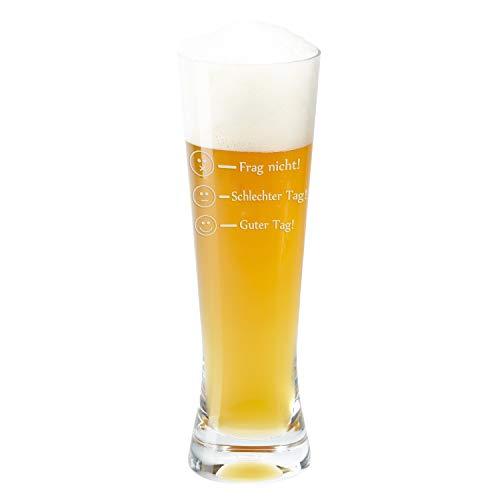 Glas - Frag nicht! (Weizenbierglas) - Glas von Leonardo als Bierkrug, Weizenbierglas oder Whiskyglas mit Befüllungs-Markierungen graviert - Markenglas mit Smiley Gravur je nach Stimmung