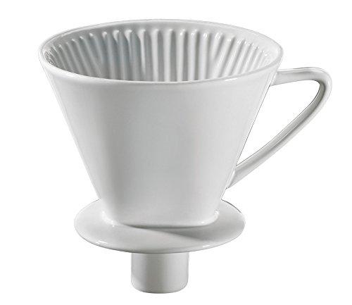 Cilio 106091 Kaffeefilter mit Stutzen, Porzellan, Weiß, 14,5 x 14 x 14,5 cm