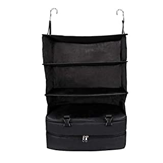 Artistic9 Multifunctional Storage Bag Portable Hanging Luggage Organizer with 3 Layers for Traveling 1PC (Black)