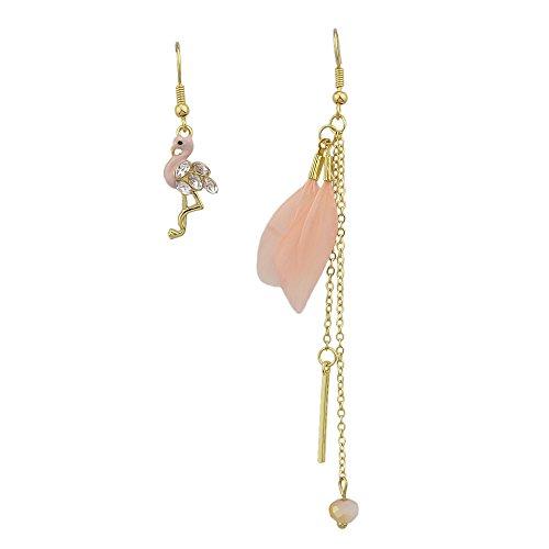 Feelontop® Asymmetrische Bunte Flamingos Form Feder Lange Goldkette Ohrringe mit Schmuckbeutel (rosa)