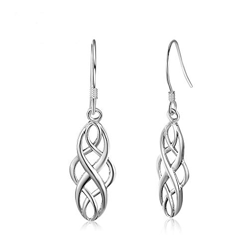 Epoch World Damen Ohrringe 925 Sterling Silber ohrhänger keltischer Knoten Tropfen Ohrringe mit Schmuck Geschenkbox (Ohrring Keltische)