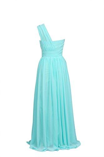 YiYaDawn Langes Brautjungfernkleid A-Linie Kleid für Damen Rosa