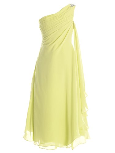 n Mädchen Kleid One Shoulder Blumenmädchenkleid K0084 (14, Cream Yellow) (Tanzabend Kostüme Kinder)