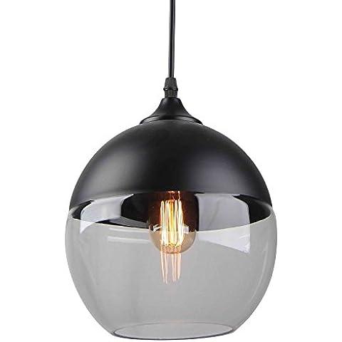 Lámpara retro vintage cristal y negro forma esférica
