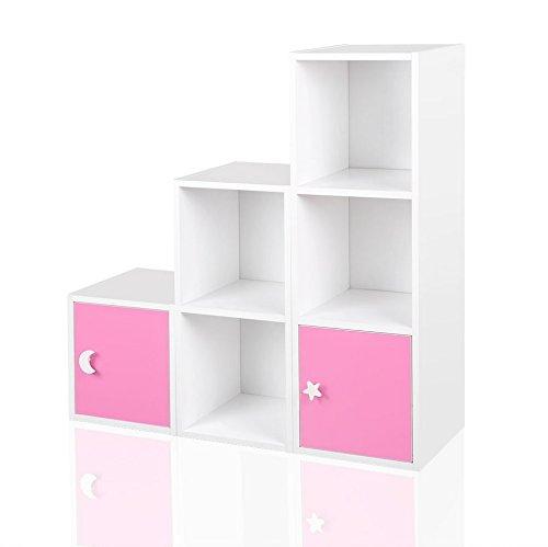 Regal Kinderregal Treppenregal Raumteiler Stufenregal Bücherregal Standregal Blau Rosa Weiß Grün, Farbe:Rosa