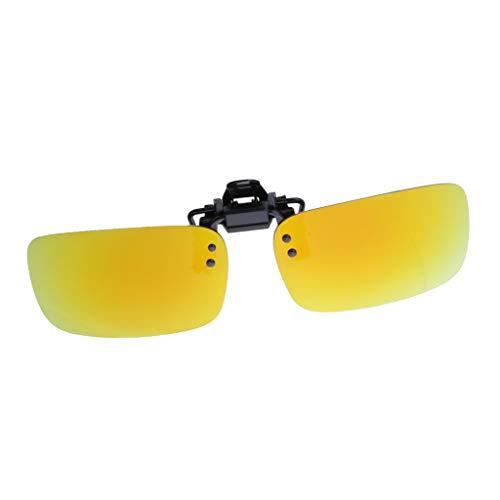 Baoblaze Damen Herren Sonnenbrillen Vorhänger Brille Aufsatz Clip On UV400 HD Polarisierte Linse - Gelb