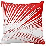 Palm Leaf White And Dark Coral Red Throw Pillow Case