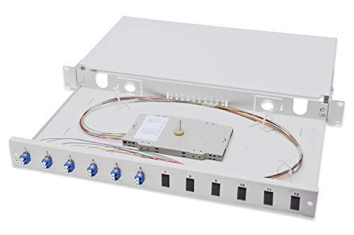 DIGITUS Professional LWL Spleißbox, LC (OS2), 1HE, Ausziehbar, Bestückt mit 6X LC Duplex, Farbige Pigtails, M20/M25-Verschraubung, Kassette, Kassettendeckel, Zugentlastung, Grau (RAL 7035)