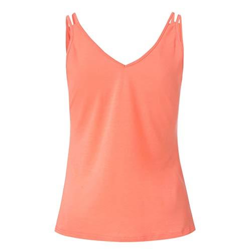 MWJYF Damenweste Frauen-T-Shirts Weste Kurzes Bauchfreies Oberteil Beiläufige Natürliche Feste Ärmellose Bluse Tanktops Dame Clothes Fashion M Orange