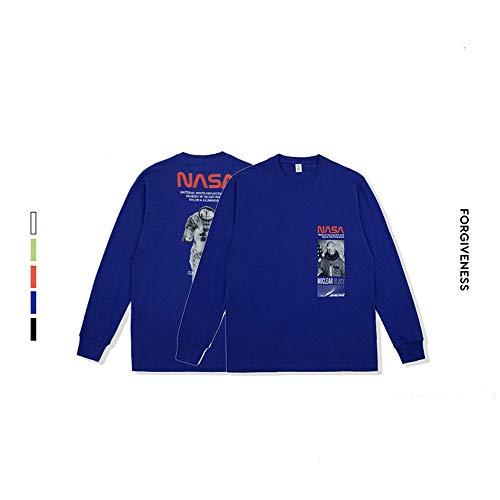 Unisex NASA,Hoodie,T-Shirt Langarm - Slim - Fit - Training - schwarz weißer Hoodie,Blau,L (Blau Licht Logo T-shirt)