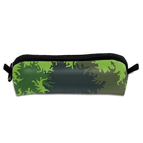 German Sawtooth Tropical Camo Students Canvas Federmäppchen Pen Bag Stationary Case Makeup Cosmetic Bag 21 X 5.5 X 5 cm - Camo Leder Stift