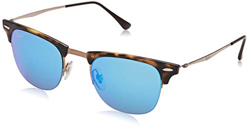 Ray-Ban Unisex Clubmaster Light Ray Sonnenbrille, Mehrfarbig (Gestell: Havana/Braun, Gläser: Blau Verspiegelt 175/55), Medium (Herstellergröße: 49)