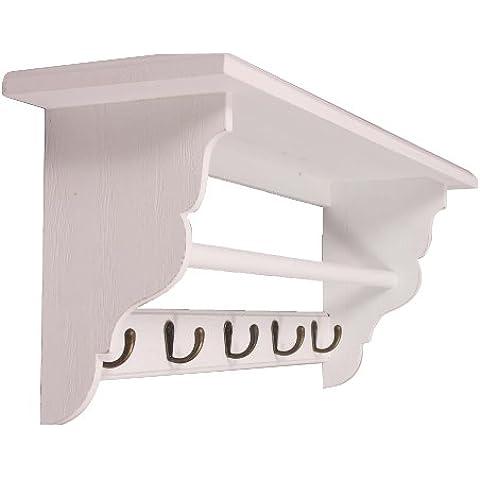 elbmöbel - Perchero con estante (madera), diseño rústico, color blanco