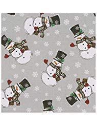 Winter Wonder Lane Weihnachtstischdecke, PEVA-Vinyl-Flanellrückseite, Schneemann-Aufdruck, Vinyl, Gray, Grey, Red, Green, White, Black, 52 x 70 Rectangle (Wonderland Winter Party Decor)
