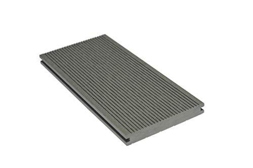 HORI® WPC/BPC Terrassendielen Komplettset I Vollprofil, massiv Dielen grau,anthrazit I Dielenlänge 4 m I Fläche 18 m²