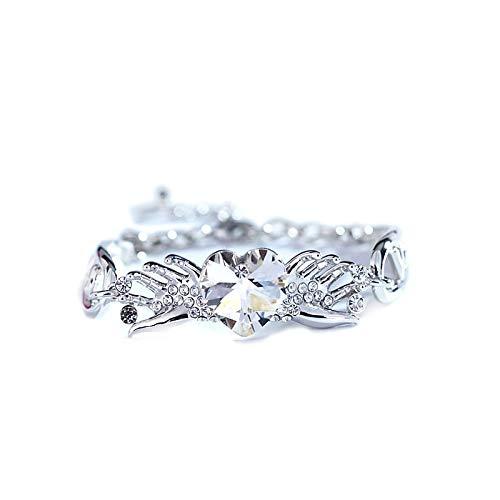 LXIANGP Damen Armband, Sweet Heart Shape Österreichischen Kristall Armband Damen Mode Modeschmuck Geburtstag Kette Länge 23 cm