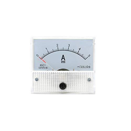YaptheS Analoger Strom Panel Meter DC 5A Amperemeter für Stromkreisprüfung Ampere Tester Spur Weiß (Ampere-meter)