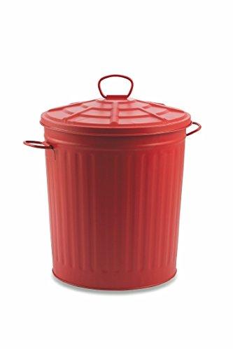 Galileo Casa - Cubo de Basura de Metal Rojo, 35 l, Lata, Rojo, Capacidad: 35 litros, Medidas: ø 36,5...