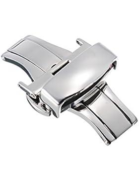 20mm Herren Damen Butterfly Faltschließe Doppelfaltschließe Edelstahlschließe für Lederbänder Uhren-Armband Uhrenarmbänder...