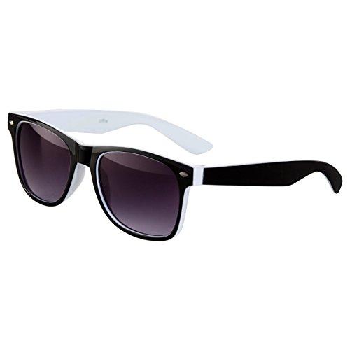 Ciffre Sonnenbrille Nerdbrille Nerd Retro Look Brille Pilotenbrille Vintage Look - ca. 80 verschiedene Modelle Viele Farben (Schwarz-Weiß)