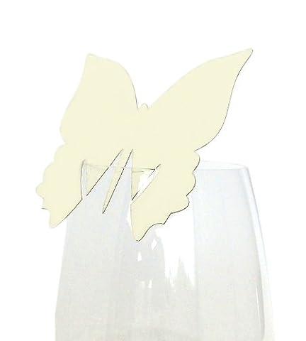 50x Tischkarten Hochzeit EinsSein® Schmetterling creme - Tischkarten, Platzkarten, Namenskarten, Platzkartenhalter