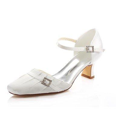 Wuyulunbi@ Scarpe donna raso elasticizzato Primavera Estate della pompa base Wedding scarpe tacco basso Square Punta Cristallo per Party & abito da sera Un