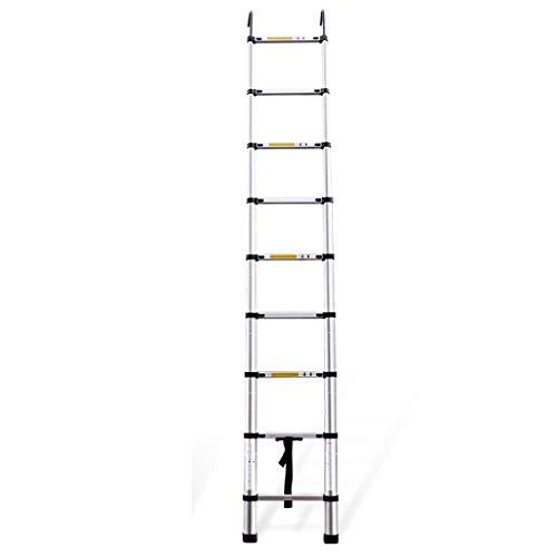 Escalera extensible/ Escalera telescópica Escalera telescópica Escalera Multiusos Alta de extensión telescópica de Aluminio para Uso doméstico Diario de Emergencia o de Emergencia, 150 kg