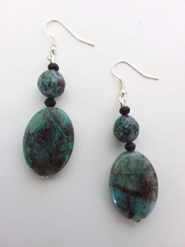 Orecchini artigianali con pietre naturali - rubizoisite- colore verde