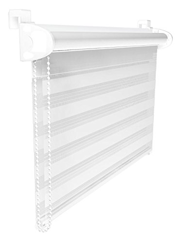 80 x 150 cm Duo Rollo Klemmfix ohne Bohren Weiß Doppelrollo Sonnenschutz Klemm Fix Seitenzugrollo