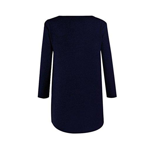 BYSTE Donna Manica lunga Zip laterale Chunky a maglia Cardigan cascante Maglione Top Vestito Marina Militare