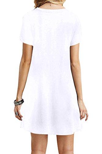 YMING Damen Casual Blusenkeid Lose Tunika Casual T-Shirt Kleid Kurzarm Strickkleid Weiß