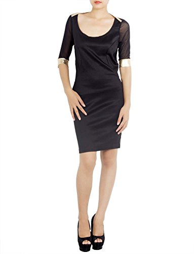 iBiP Damen Rückenfreie Schier Kurzarm Slim Bleistift Mini Ausschneiden  Kleid Gold