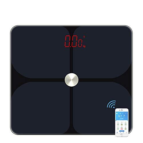 Bluetooth Body Fat Scale, Smart Digital Skala LED Bathroom Scale Body Composition Analyzer mit App,NeutralBlack