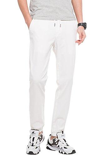 Pantaloni jogger elastico da uomo, slim fit, pantaloni tuta multifunzionali, bianco, l (vita 91cm, lunghezza 107)