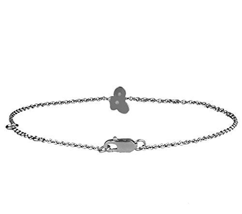 Or Blanc 9 ct Bracelet Diamant en forme de papillon, 0.01 Ct Diamant, GH-SI, 1.82 grammes.