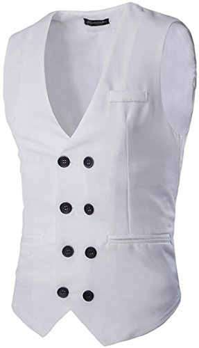 Jeansian Hommes Mode Double-Breasted Costumes et Vestes Solid Color Men's Casual Double-Breasted Vest 9500 white