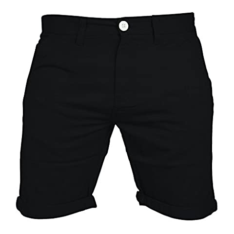 Mens Chino Shorts Casual 100% Cotton Cargo Combat Half Pant Summer Jeans New (34, Black)