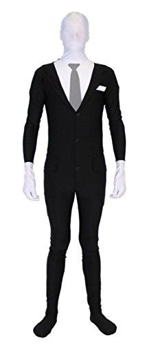 Costume Agent Slender Man Spandex ganzkörper Bodysuit mit Reißverschluss Kostüm (Bodysuit Ganzkörper)