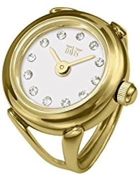 Davis 4174 - Damen Ringuhr Gold Strass Kristall Swarovski Ziffernblatt Weiß SaphirGlas Verstellbar