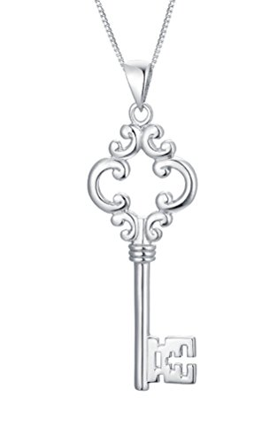 Sterling Silver Key Pendant Necklace - s3y007N1