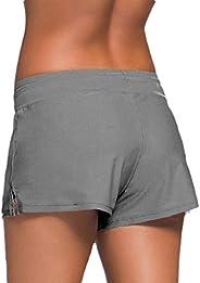 ouxiuli Womens Beach Boyleg Swim Shorts Sports Short Stretch Swimsuit Bottoms