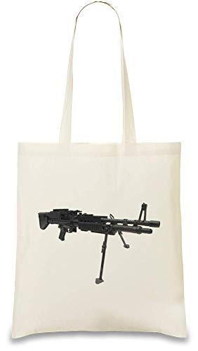 Frauen Art Maschinengewehr - Machine Gun Custom Printed Tote Bag| 100% Soft Cotton| Natural Color & Eco-Friendly| Unique, Re-Usable & Stylish Handbag For Every Day Use| Custom Shoulder Bags ()