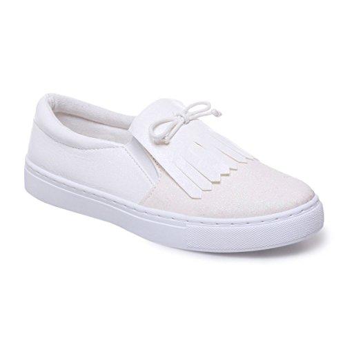 La Modeuse Baskets Slip-On en Simili Cuir Scintillant doté de Paillettes Sur le Devant de la chaussuresFranges Style Mocassin et Petit Noeud Blanc