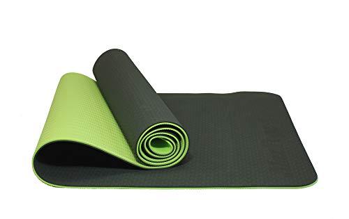 MaxYoga Esterilla para Yoga/Pilates / Gimnasia de Material Ecológico TPE. Colchoneta Antideslizante de Double Cara y Color con Grosor de 6mm tamaño 183cm x 61cm -Verde