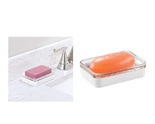 iDesign 14010EU Ariana Seifenschale aus Glas, durchsichtig / mattweiß -