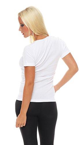 2er Pack Damen Hemd kurzarm (T-Shirt, Top, Unterhemd) Nr. 422 ( Weiß / 44/46 ) - 3