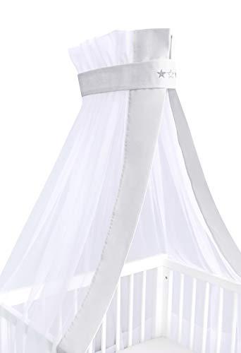 Amilian® Chiffonhimmel Himmel Betthimmel für Baby Kinder mit Stickerei (Sternchen Hellgrau, Chiffonhimmel)