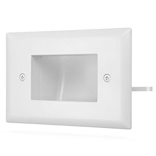 Fosmon 1 Gang Wandplatte, Einbau Niederspannungs Kabelplatte In Wall Installation für Lautsprecherkabel, Koaxialkabel, HDMIKabel oder Netzwerk / Telefonkabel - (weiß) -